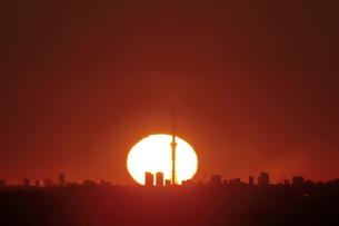 スカイツリーの後ろに昇る朝日の写真素材 [FYI04688826]