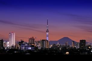 富士山とスカイツリーの夜景の写真素材 [FYI04689019]