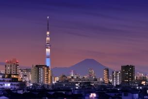 富士山とスカイツリーの夜景の写真素材 [FYI04689138]