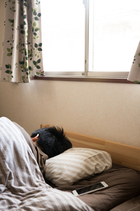 布団で寝る男性の写真素材 [FYI04696650]