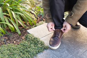 靴ひもを結ぶ男性の写真素材 [FYI04696747]