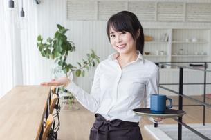 カフェの女性店員の写真素材 [FYI04697898]