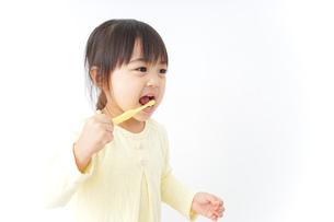 歯磨きをする子どもの写真素材 [FYI04701248]