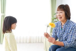 祖母に花をあげる子どもの写真素材 [FYI04703210]