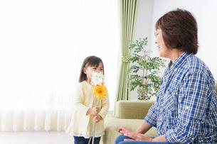 おばあちゃんと遊ぶ小さな子供の写真素材 [FYI04703232]