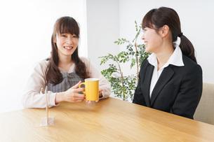 カフェで働く女性の写真素材 [FYI04704007]