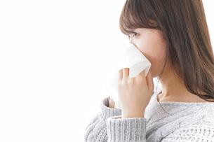 風邪・花粉症で鼻をかむ女性の写真素材 [FYI04704051]