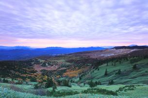 秋の渋峠より朝焼け雲と芳ヶ平の紅葉の写真素材 [FYI04704276]