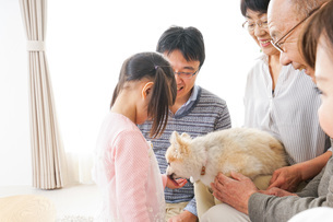 犬の世話をする3世代家族の写真素材 [FYI04704349]