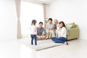 家族で犬と遊ぶ幸せな三世代ファミリーの写真素材 [FYI04704400]