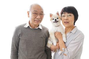 ペットを飼う高齢者夫婦の写真素材 [FYI04704557]