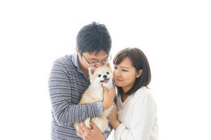 犬を抱く夫婦・カップル・ブリーダー・動物愛護の写真素材 [FYI04704585]