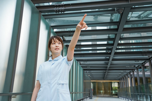 指さす看護師の写真素材 [FYI04705674]