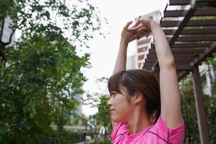 野外でトレーニングする女性の写真素材 [FYI04705692]