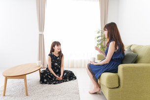 家で女子会する若い女性の写真素材 [FYI04705817]