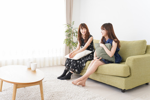 家で女子会する若い女性の写真素材 [FYI04705828]