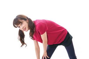 準備運動をする女性の写真素材 [FYI04706498]