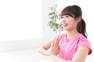 ヨガをする若い女性の写真素材 [FYI04706700]