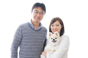 犬を飼う夫婦・カップルの写真素材 [FYI04707732]