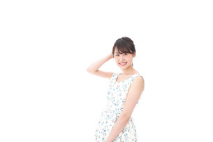 Beautiful young woman with smileの写真素材 [FYI04709098]