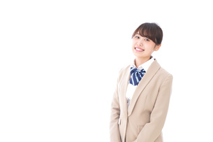 制服を着た笑顔の学生の写真素材 [FYI04709427]