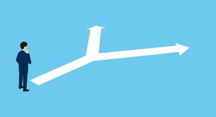 二つに分かれる白い矢印、悩むビジネスマン、3Dイラストのイラスト素材 [FYI04710161]
