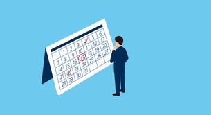 カレンダーを見つめて考えるビジネスマン、アイソメトリック、3Dイラストのイラスト素材 [FYI04710181]