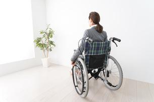車椅子に乗って仕事をする外国人の女性の写真素材 [FYI04712581]
