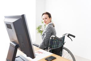 車椅子に乗って仕事をする外国人の女性の写真素材 [FYI04712583]