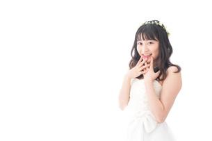 ドレスを着た笑顔の花嫁の写真素材 [FYI04714736]