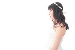 ドレスを着た笑顔の花嫁の写真素材 [FYI04714763]