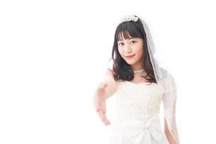 握手をするドレス姿の花嫁の写真素材 [FYI04714798]