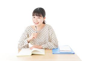 机で勉強をする若い女性の写真素材 [FYI04715154]