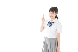 案内をする笑顔の女子学生の写真素材 [FYI04715240]