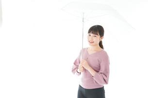 傘をさす若い女性の写真素材 [FYI04715401]