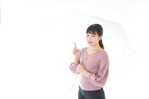 傘をさす若い女性の写真素材 [FYI04715427]