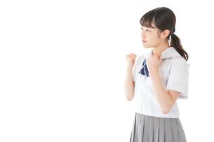 ガッツポーズをする笑顔の女子学生の写真素材 [FYI04715783]