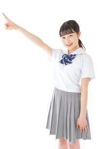上を指差す制服を着た女子学生の写真素材 [FYI04715788]
