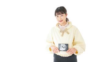 エコー画像を持つ若い妊婦の女性の写真素材 [FYI04716230]