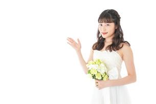 ブーケを持ち指差す花嫁の女性の写真素材 [FYI04716285]
