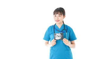 妊婦のエコー画像と笑顔の若いナースの写真素材 [FYI04716774]