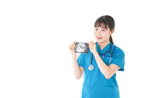 妊婦のエコー画像と笑顔の若いナースの写真素材 [FYI04716783]