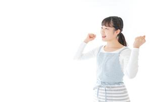 ガッツポーズをする若い主婦の写真素材 [FYI04717199]