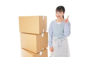 引っ越しをする若い女性の写真素材 [FYI04717278]