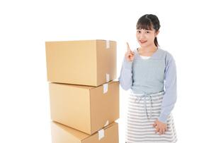 引っ越しをする若い女性の写真素材 [FYI04717280]