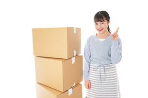 引っ越しをする若い女性の写真素材 [FYI04717283]