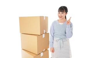 引っ越しをする若い女性の写真素材 [FYI04717284]