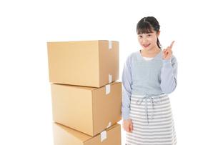 引っ越しをする若い女性の写真素材 [FYI04717285]