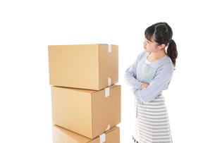 引っ越しをする若い女性の写真素材 [FYI04717286]
