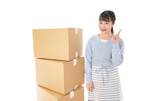 引っ越しをする若い女性の写真素材 [FYI04717287]